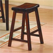 Homelegance Saddleback 18 Seat Height Bar Stool in Warm Cherry Finish (Set of 2)