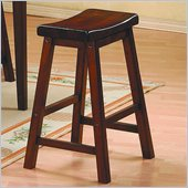 Homelegance Saddleback 24 Seat Height Bar Stool in Cherry Finish (Set of 2)