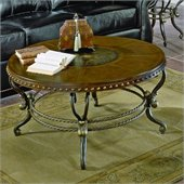 Homelegance Copeland Round Wood Top Cocktail Table in Iron Finish
