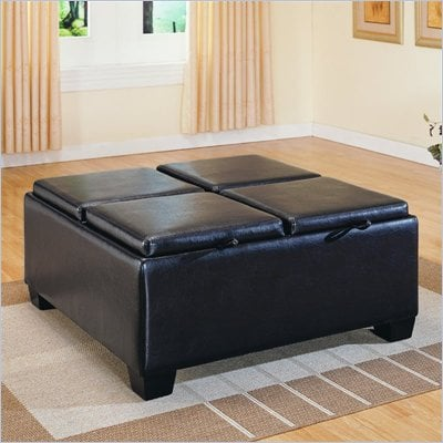 Homelegance Square Storage Cocktail Ottoman in Espresso