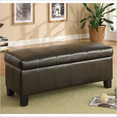 Homelegance Clair Lift Top Storage Bench in Dark Brown