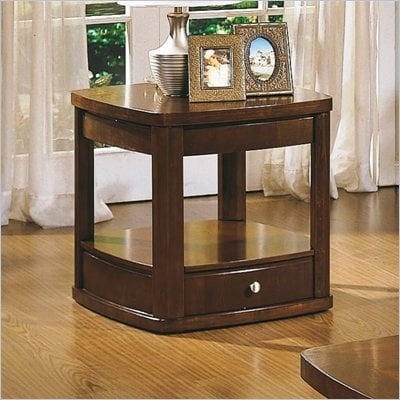 Homelegance Sidney End Table with Drawer and Shelf in Oak