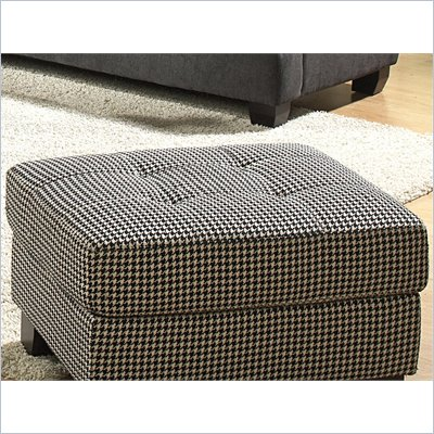 Homelegance Maya Ottoman in Black &amp; White Houndstooth