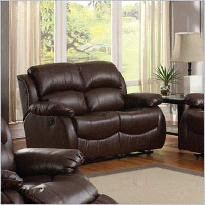 Homelegance McGraw Motion Loveseat&#160;in Rich Dark Chocolate