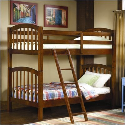 Homelegance Michael Pine Twin/Twin Bunk Bed in Rich Brown