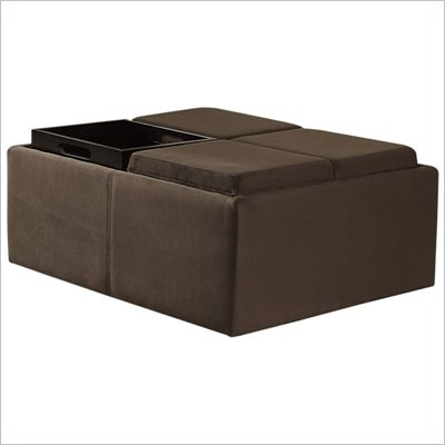 Homelegance Cocktail Ottoman w/ Four Tray Inserts in Mocha Microfiber