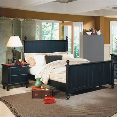 Homelegance Pottery Wood Panel Bed 3 Piece Bedroom Set in Black
