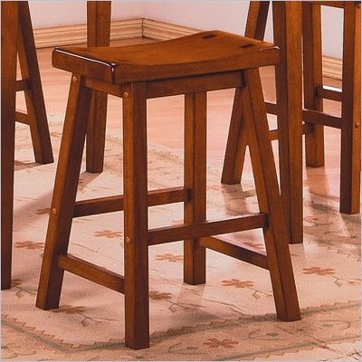 "Homelegance Saddleback 24"" Seat Height Bar Stool in Oak (Set of 2)"