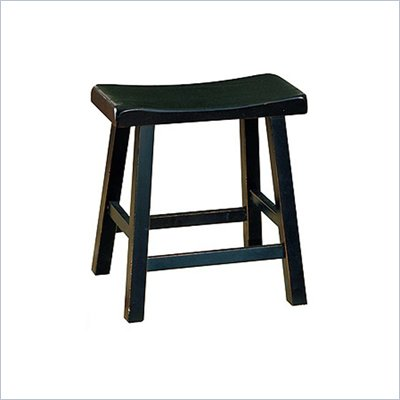 "Homelegance Saddleback 18"" Seat Height Bar Stool in Black (Set of 2)"