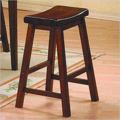 Homelegance Saddleback 24&quot; Seat Height Bar Stool in Cherry Finish (Set of 2)