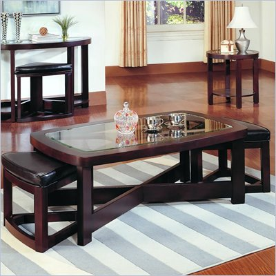 Homelegance Redell Rectangle Glass Top Cocktail Table with 2 Ottomans