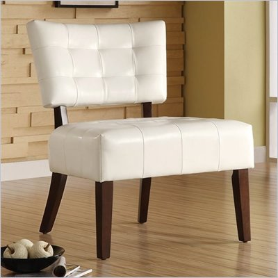 Homelegance Warner Accent Chair in White Bi-Cast Vinyl 