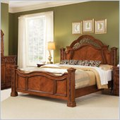 Wynwood Terrassa Mansion Low Post Panel Bed in Amber Cherry Finish