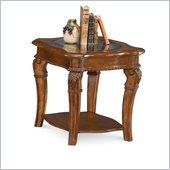 Wynwood Cordoba End Table w/ Glass Top in Burnished Pine