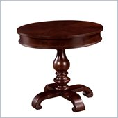 Wynwood Harrison Round Pedestal Lamp Table in Umber Cherry