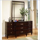 Wynwood Vinings 9 Drawer Triple Dresser and Mirror Set in Bordeaux