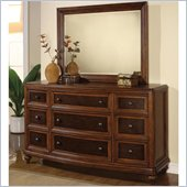 Wynwood Brendon Dresser and Mirror Set in Hazelnut and Cabernet Finish