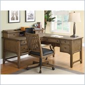 Wynwood Newberry L-Shaped Desk with Hutch in Antique Oak Finish