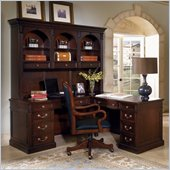 Wynwood Wellington L-Shaped Desk with Hutch in Garnet Cherry Finish