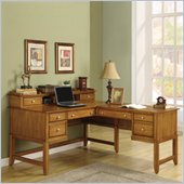 Wynwood Gordon L-Shaped Desk and Hutch Set in Light Nutmeg