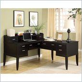 Wynwood Palisade L-Shaped Desk and Hutch in Dark Sable