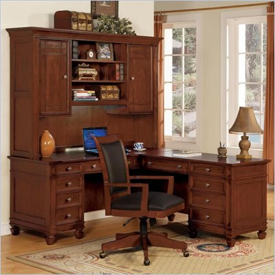 Wynwood Artisan L-Shape Wood Desk in Cherry