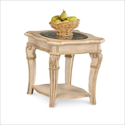 Wynwood Cordoba End Table w/ Glass Top in Antiguo Blanco