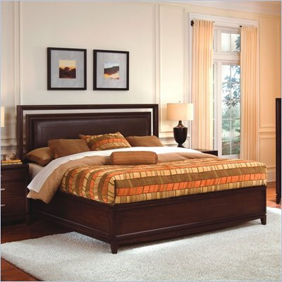 Wynwood Henley Leather Upholstered Panel Bed in Russet Brown Cherry Finish