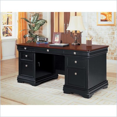 Wynwood Marlowe 66&quot; Executive Desk in Black Cherry Finish