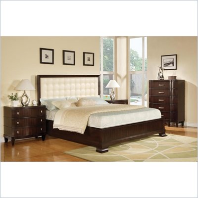 Wynwood Vinings 2 Piece Upholstered Panel Bedroom Set in Bordeaux