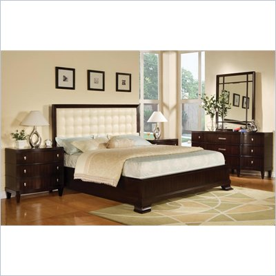 Wynwood Vinings 5 Piece Upholstered Panel Bedroom Set in Bordeaux
