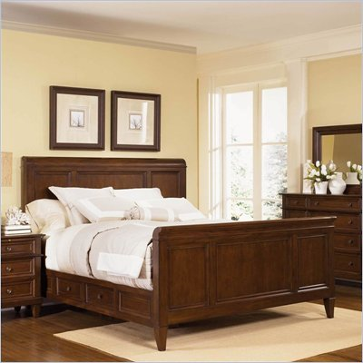 Wynwood Westhaven Panel Bed in Dried Fig Cherry Finish