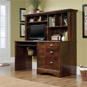 Sauder Harbor View Computer Desk with Hutch in Curado Cherry