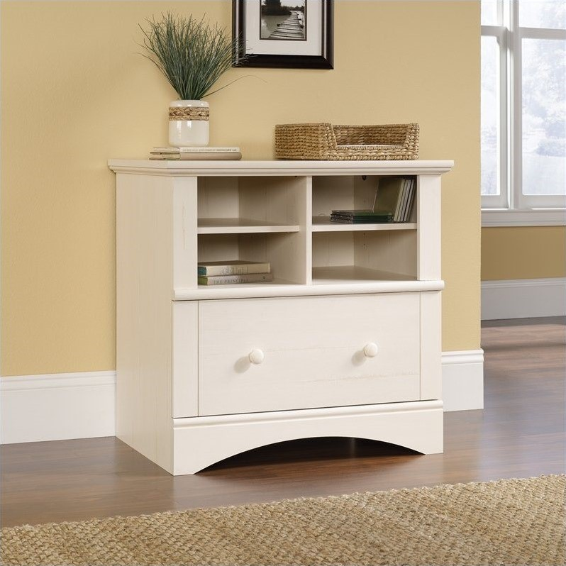 Harbor View 1 Drawer Lateral Wood File Cabinet in Antique White