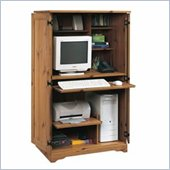 Sauder Sugar Creek Wood Computer Armoire in Spiced Pine