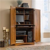 Harvest Mill Collection Computer Armoire in Abbey Oak