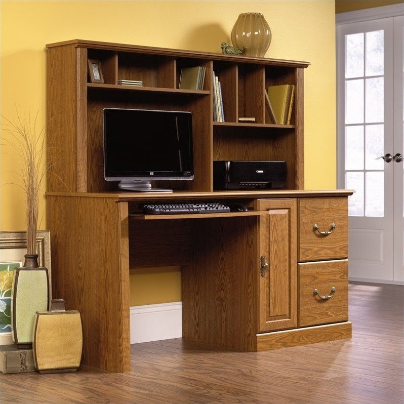 orchard hills large wood computer desk with hutch in carolina oak by