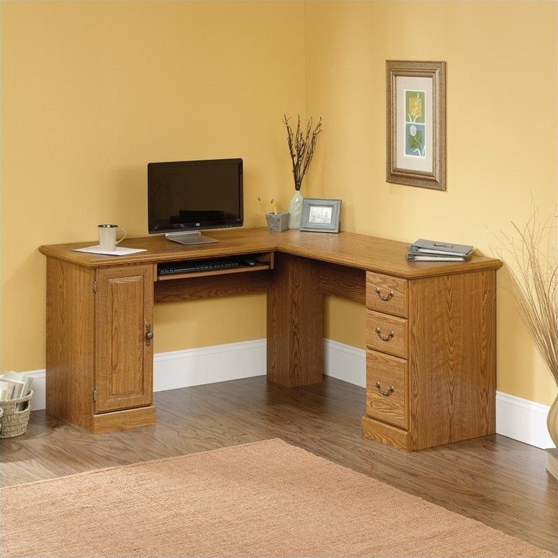 sauder orchard hills large corner l shape wood oak computer desk ebay. Black Bedroom Furniture Sets. Home Design Ideas
