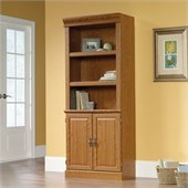 Sauder Orchard Hills 3 Shelves Wood Bookshelf With Storage in Carolina Oak Finish