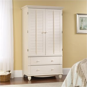 Sauder Harbor View Armoire in Antiqued White