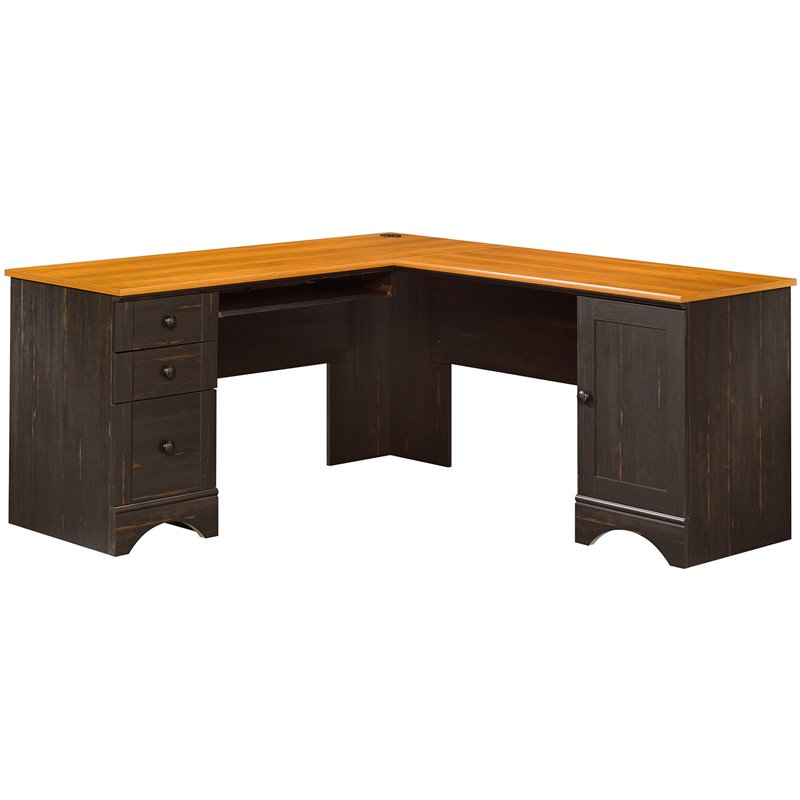 Sauder Harbor View Corner Computer Desk - Antiqued Paint