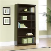Sauder Storage Five Shelf Bookcase in Jamocha Wood Finish
