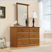 Sauder Orchard Hills Dresser and Mirror Set in Carolina Oak Finish