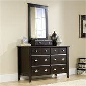 Sauder Shoal Creek Dresser and Mirror Set in Jamocha Wood