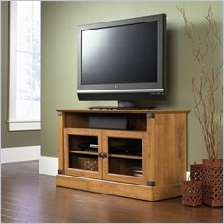 Sauder Registry Row Panel TV Stand in Amber Pine