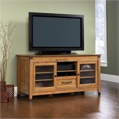 Sauder Registry Row TV Credenza in Amber Pine Finish
