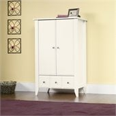 Sauder Shoal Creek Armoire in Soft White Finish