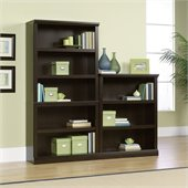 Sauder Storage Five Shelf Wall Bookcase in Jamocha Wood Finish