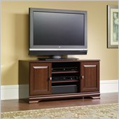 Sauder Carolina Estate Panel TV Stand in Select Cherry Finish
