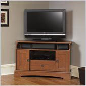 Sauder Graham Hill Corner TV Stand in Autumn Maple